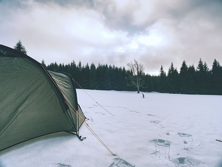 Winter Camp By The Lake