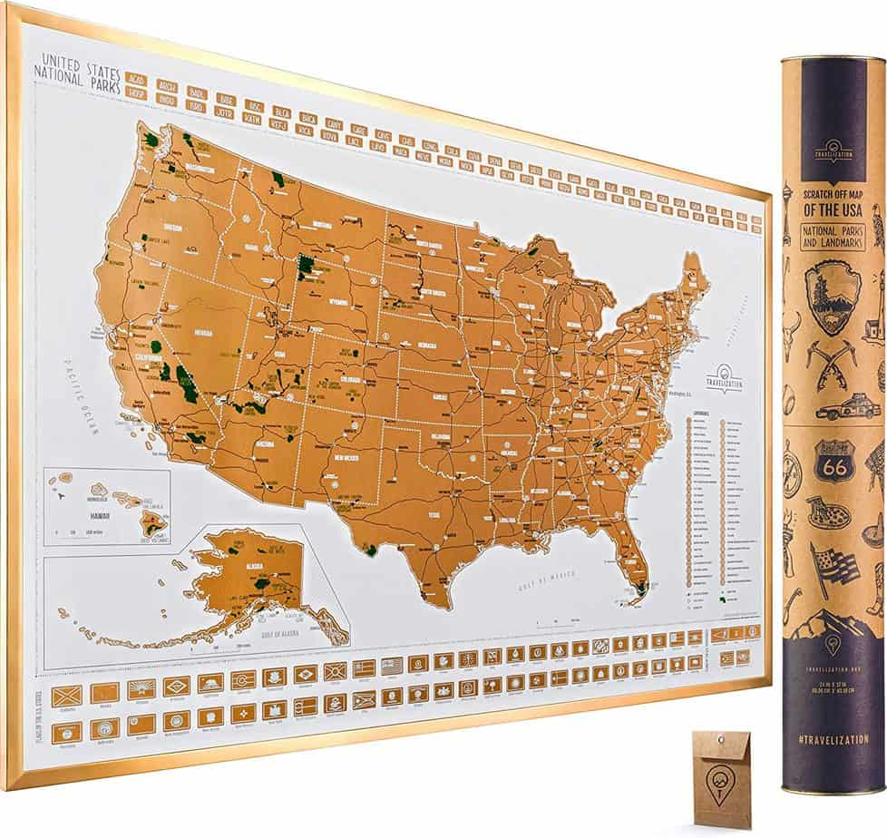 National Parks Scratch Off Map Light